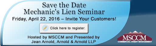 Save the Date - Mechanic's Lien Seminar, Friday, April 22, 2016. Click here to register.